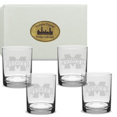 Mississippi State Bulldogs Deep Etched Double Old Fashion Glass Set of 4