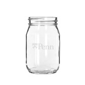 Penn Quakers 16 oz. Deep Etched Old Fashion Drinking Jar