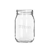 Penn Quakers 16 oz. Deep Etched Old Fashion Drinking Jar
