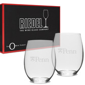 Penn Quakers Deep Etched Riedel Set of 2 Deep Etched Stemless Wine Glasses