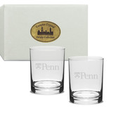 Penn Quakers Deep Etched Double Old Fashion Glass Set of 2