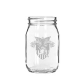 West Point 16 oz. Deep Etched Old Fashion Drinking Jar