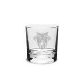 West Point 10.5 oz. Deep Etched Football Deep Etched Double Old Fashion Glass