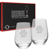 Boston College Riedel - 13.25 oz. Deep Etched Stemless Deep Etched White WINE GLASS-2 PACK Boston College