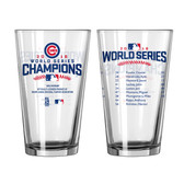 Chicago Cubs 2016 World Series Champions Roster Pint Glass