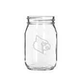 Louisville Cardinals 16 oz. Deep Etched Old Fashion Drinking Jar