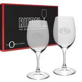 Missouri Tigers Riedel - 13.25 oz. Deep Etched Stemless Deep Etched White WINE GLASS-2 PACK