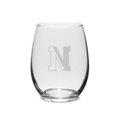 Northeastern Huskies 11.5 oz. Deep Etched Stemless Deep Etched White WINE GLASS