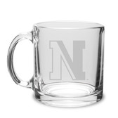Northeastern Huskies 13 oz. Deep Etched Clear Glass Coffee Mug