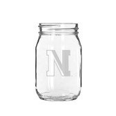Northeastern Huskies 16 oz. Deep Etched Old Fashion Drinking Jar
