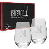 Northeastern Huskies Riedel - 13.25 oz. Deep Etched Stemless Deep Etched White WINE GLASS-2 PACK