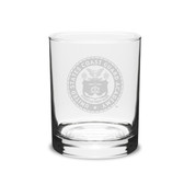 Coast Guard Academy 14 oz Deep Etched Double Old Fashion Glass