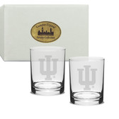 Indiana Hoosiers Deep Etched Deep Etched Double Old Fashion Glass Set of 2