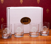 Ohio State Buckeyes Deep Etched Double Old Fashion Glass Set of 4