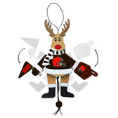 Vancouver Canucks Ornament - Cheering Reindeer - Wood