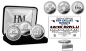 """New England Patriots """"Road to Super Bowl 51"""" Silver Flip Coin Set"""