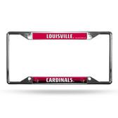 Louisville Cardinals License Plate Frame Chrome EZ View