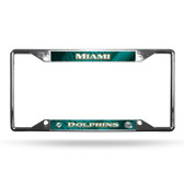 Miami Dolphins License Plate Frame Chrome EZ View