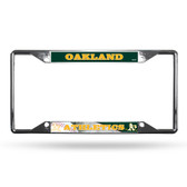 Oakland Athletics License Plate Frame Chrome EZ View