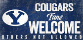 BYU Cougars Wood Sign Fans Welcome 12x6