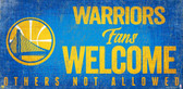 Golden State Warriors Wood Sign Fans Welcome 12x6
