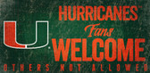 Miami Hurricanes Wood Sign Fans Welcome 12x6