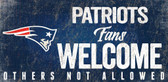 New England Patriots Wood Sign Fans Welcome 12x6