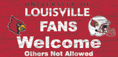 Louisville Cardinals Wood Sign - Fans Welcome 12x6