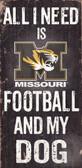 Missouri Tigers Wood Sign - Football and Dog 6x12