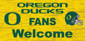 Oregon Ducks Wood Sign - Fans Welcome 12x6