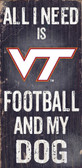 Virginia Tech Hokies Wood Sign - Football and Dog 6x12