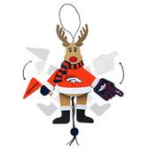 Denver Broncos Ornament - Cheering Reindeer - Wood