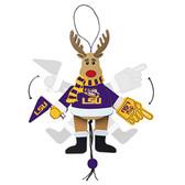 LSU Tigers Ornament - Cheering Reindeer - Wood