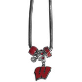 Wisconsin Badgers Necklace - Euro Bead