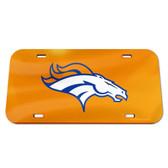 Denver Broncos License Plate - Crystal Mirror - Logo - Orange
