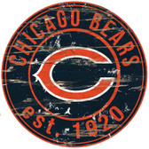 """Chicago Bears Wood Sign - 24"""" Round"""
