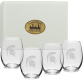 Michigan State Spartans Deep Etched 15 oz. Stemless Wine Glass Set of 4