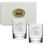 Michigan State Spartans Deep Etched 14 oz. Double Old Fashion Glass Set of 2