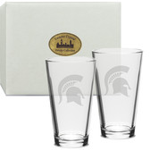 Michigan State Spartans Deep Etched 16 oz. Pub Glass Set of 2