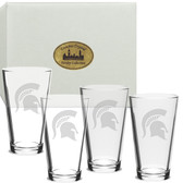 Michigan State Spartans Deep Etched 16 oz. Pub Glass Set of 4