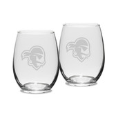 Seton Hall Deep Etched 15 oz. Stemless Wine Glass Set of 2