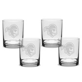 Seton Hall Deep Etched 14 oz. Double Old Fashion Glass Set of 4