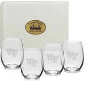 Wake Forest Demon Deacons Deep Etched 15 oz. Stemless Wine Glass Set of 4