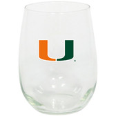 Miami Hurricanes 15oz Decorated Stemless Wine Glass