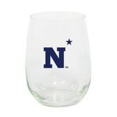 Navy 15oz Decorated Stemless Wine Glass