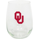 Oklahoma Sooners 15oz Decorated Stemless Wine Glass
