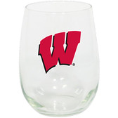 Wisconsin Badgers 15oz Decorated Stemless Wine Glass