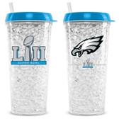 Philadelphia Eagles Tumbler 16oz Crystal Freezer Style Super Bowl 52 Champs