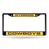Wyoming Cowboys BLACK LASER Chrome Frame