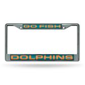 "Miami Dolphins ""GO FISH"" LASER Chrome Frame"